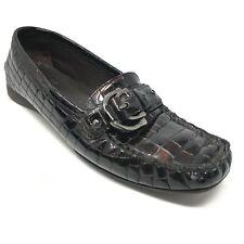 Women's Stuart Weitzman Loafers Shoe Size 7.5N Brown Patent Crocodile Print AE13