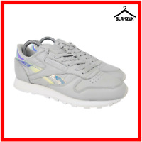 Reebok Classic Leather Womens Trainers UK 5 / 37.5  Iridescent Grey Sneakers