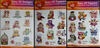 Easy 3D Die Cut Paper Tole Decougage Card Toppers Cute Owls 10 Designs