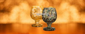 Exclusive Marble Wine Glass Abalone Stone Inlay Good Looking Fine Art Decoartive