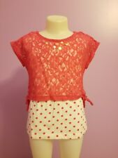 Faded Glory girls size 6 Shirt 2 piece pink floral and polka dots