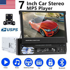 7 Inch 1Din Car Stereo Radio Retractable Touchscreen MP5 Player USB AUX + CAMERA