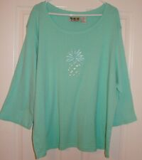 DELIGHTFUL MINT GREEN EMBELLISHED KNIT TOP BY PALM GROVE, SZ 3X