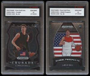 LAMELO BALL 2020-21 PANINI PRIZM 1ST GRADED 10 NBA ROOKIE CARD RC 2 LOT HORNETS