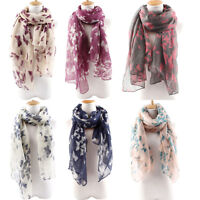 EE_ BL_ Women's Soft Butterfly Long Neck Voile Wrap Shawl Pashmina Stole Scarf E