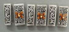 6 antique silver double holed beads with topaz butterfly motif. Gorgeous beads!