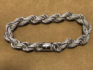 10mm Solid Genuine 925 Sterling Silver Mens CZ Rope Link Bangle Bracelet New