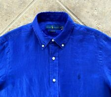 Ralph Lauren Oxford Shirt Mens M 100% Linen Cobalt Blue w/Pony Long Sleeve NWT
