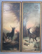 Pair (2) Lg Antique 1920s Old Hunt Lodge Decor Mountain Stag Deer Cabin Painting