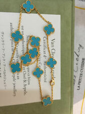 =?Cleef ? Arpels ?18kt ?Yellow ?Gold ?Turquoise ?Vintage ?Alhambra ? Necklace?