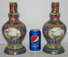 Gorgeous Pair Yongzheng Chinese Colorful Porcelain Enamel Painted Flower Vases
