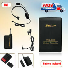 Wireless FM Transmitter Receiver Headset Microphone Lapel Clip Mic Remote System
