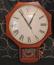 Vintage 1960s United Clock Corp # 597 Wall Clock Hardwood Case Brooklyn New York
