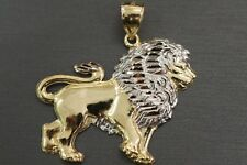 Real 10K Solid Yellow Gold Two Tone Diamond Cut Flat Lion Charm Pendant. 3 grams