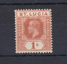 St Lucia KGV 1920 1/- Orange Brown Colour Change SG86 MH JK660