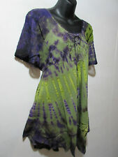 Top Fits 1X 2X 3X Plus Tunic Purple Green Tie Dye  Lace Sleeve Cotton NWT 787