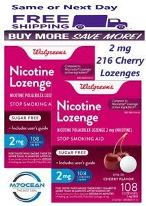 2 Pack Walgreens Nicotine Lozenge 2 Mg 108 Ct Cherry Flavor Compared Nicorette