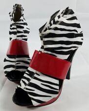 bumper shoes Bumper Red Zebra Print Stretch Heels Pumps Size 7 Red Black White