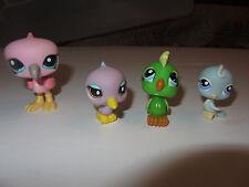 4 Littlest Pet Shop figures parakeets and flamingo