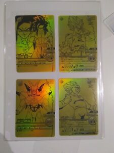 Japanese Dragon Ball Card Game Carddass Set Of 4 Gold Promo Cards
