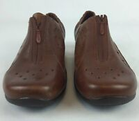 NWOB Dansko Camille Shoe Womens Size 7 Brown Nappa Leather Perforated Front Zip