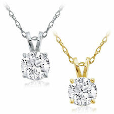 CERTIFIED .50ct 1/2ct GENUINE F/VS2 DIAMOND 14K GOLD SOLITAIRE PENDANT & CHAIN