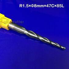 HRC55 Solid Carbide tapered Ball nose cnc end mill NANO coated R1.5*47*D8*85*2F