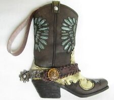 Western Small Ceramic Cowboy Boot Collectible Hanging Plaque New (3915B)