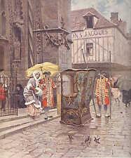 Catholic Church, After Mass, Paris Street View, 1894 French Antique Art Print