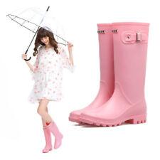 Women's Knee-High Heeled Rain Boots Anti-Slip Rubber Waterproof Shoes Tops