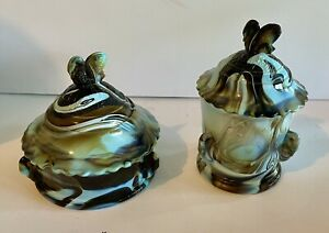 Westmoreland Blue Slag Carnival Candy Cheese Covered Dish Swan
