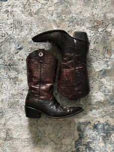 ROGERS Cowboy Boots Sz 7 Womens EXOTIC Alligator Belly Embossed Leather Boots