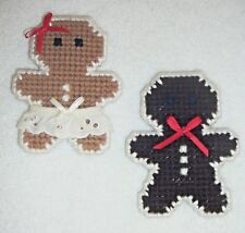 Magnets~Gingerbread Boy & Girl~Christmas~Hand Stitched~Finished Back~New