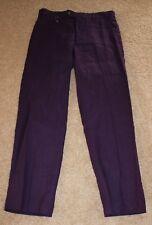 NEW Ralph Lauren Mens purple flat front pants 100% Linen  SIZE 30W 30L