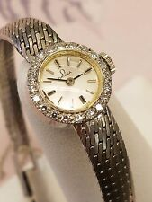 ESTATE SOLID 14K WHITE GOLD AUTHENTIC WOMEN OMEGA DIAMOND WATCH  RARE 17 JEWEL