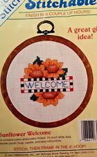 Sunflower Welcome Cross Stitch Kit  Hoop  4 Inch  open package