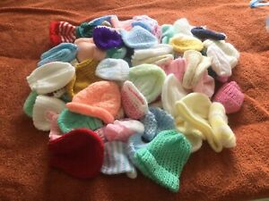 50 Dolls Hats Hand Knitted - Various Sizes