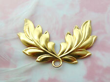 BRASS Art Nouveau Spray Double Leaves Stamping Jewelry Leaf Finding (FA-6087) *