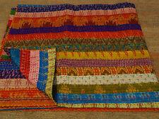 Vintage Old Patola Silk Sari Kantha Quilt Patchwork Throw Ralli Gudari Beds 003