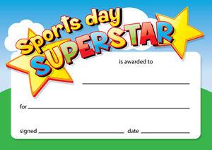'Sports day superstar' - 16 x A6 card certificates, Schools,Teachers, kids