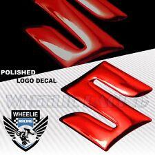 "2"" MOTO/BIKE 3D POLISH/SHINY ABS EMBLEM DECAL LOGO FENDER STICKER SUZUKI RED"