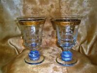 Crystal vases urns cups Bohemia crystal bicolor Mid Century collection vintage