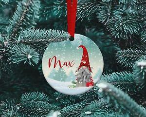 Personalised  Xmas tree ceramic bauble - Gonk Design.1 Christmas Gnome