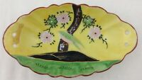 Vtg Hand Painted Moriage Oval Porcelain Bowl Bird Flowers Yellow Japan Scalloped