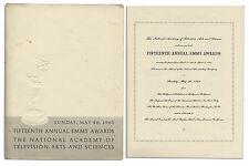 Program From The 1963 Emmy Awards Ceremony