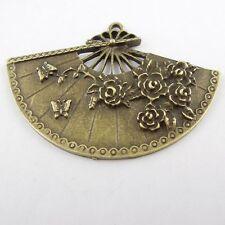8 pcs Antiqued Bronze Alloy Fan Flowers & Butterflies Pendants Charms 54x35mm
