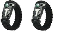 (2)Black Paracord Bracelet Compass Fire Starter Emergency Knife Whistle Survival