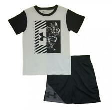 Under Armour Boys S/S Black & White Football Dry Fit Top 2pc Short Set Size 5