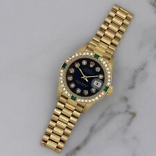 Ladies Rolex President 18k Solid Gold Diamond Emerald Aniversary Bezel 69178