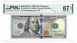2017A $100 SAN FRANCISCO FRN, PMG SUPERB GEM UNCIRCULATED 67 EPQ BANKNOTE